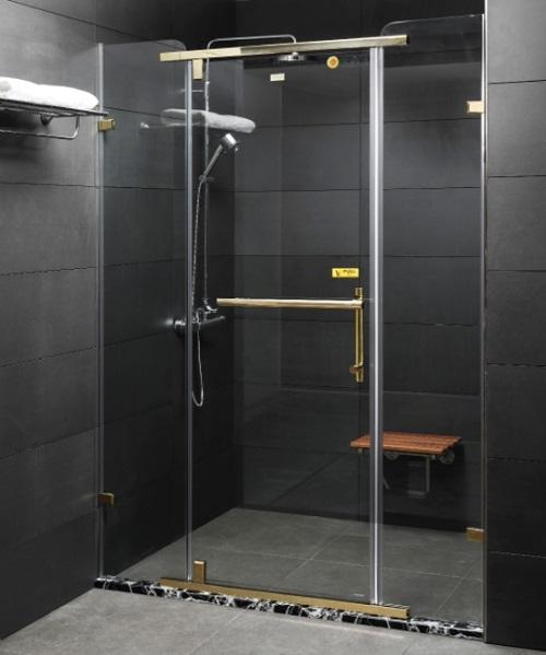 Vách kính tắm inox mạ vàng Fendi FDP-1X3