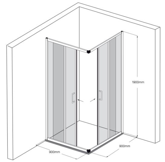 Vách kính tắm mạ chrome Fendi FKG-1X4